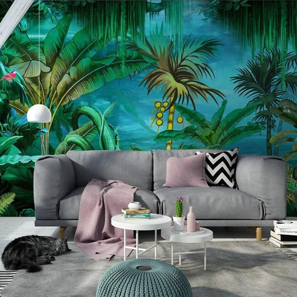 custom-mural-wallpaper-3d-living-room-bedroom-home-decor-wall-painting-papel-de-parede-papier-peint-hand-painted-tropical-rainforest-forest-flowers-and-birds-background-wall