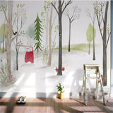 custom-wallpaper-mural-wall-covering-wall-decor-wall-decal-wall-sticker-nursery-decor-kids-room-children's-room-daycare-kindergarten-ideas-cartoon-woods-animals-papier-peint