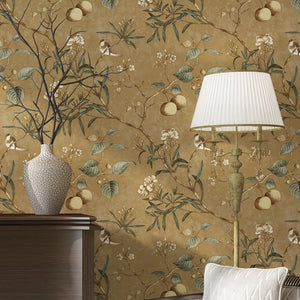 luxury-wallpaper-Pastoral-Flower-Bird-Tree-wallcovering
