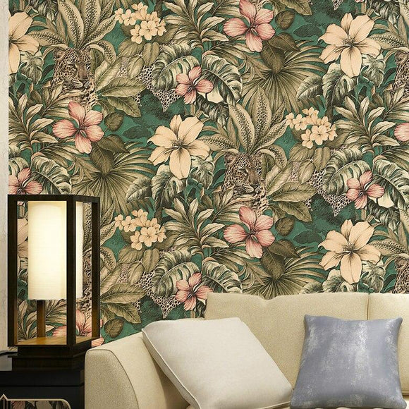 jungle-and-leopard-floral-tropical-wallpaper-roll-luxury-vinyl-bedroom-background-wall-paper-papier-peint