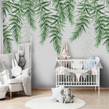custom-wallpaper-mural-wall-covering-wall-decor-wall-decal-wall-sticker-nursery-decor-kids-room-children's-room-daycare-kindergarten-ideas-nordic-tropical-plant-leaves-papier-peint