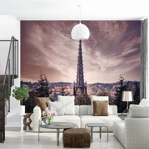 custom-mural-wallpaper-papier-peint-papel-de-parede-wall-decor-ideas-for-bedroom-living-room-dining-room-wallcovering-photography-tower-landscape-retro
