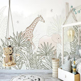 custom-large-wallpaper-mural-hand-painted-nordic-forest-small-animal-illustration-children-background-wall-papier-peint-giraffe