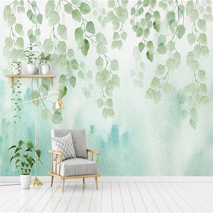 custom-mural-wallpaper-papier-peint-papel-de-parede-wall-decor-ideas-for-bedroom-living-room-dining-room-wallcovering-nordic-watercolor-green-leaf