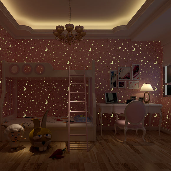 ceiling-mural-kids-luminous-wallpaper-stars-sky-moon-wallcovering-free-shipping