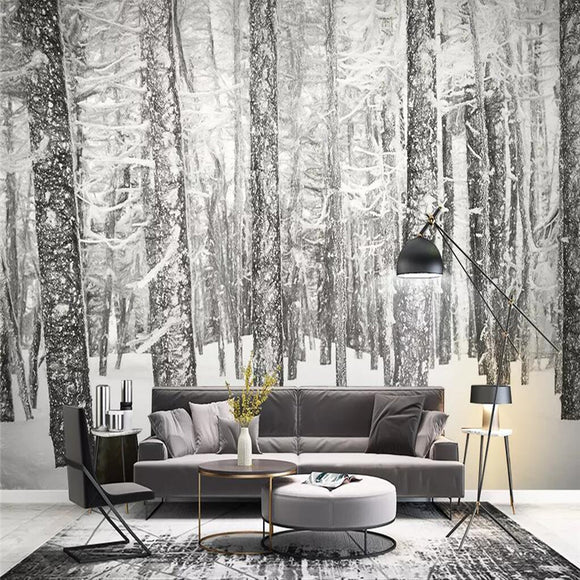 custom-size-wall-mural-nordic-modern-simple-hand-painting-style-forest-scenery-tv-background-wall-painting-decorative-painting