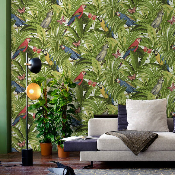 nordic-non-woven-rainforest-wallpaper-living-room-dining-room-background-papel-de-parede-new-birds-plants-wall-papers-home-decor-papier-peint