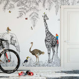 custom-wallpaper-mural-wall-covering-wall-decor-wall-decal-wall-sticker-nursery-decor-kids-room-children's-room-daycare-kindergarten-ideas-cartoon-animals-jungle-papier-peint