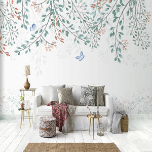 custom-mural-wallpaper-papier-peint-papel-de-parede-wall-decor-ideas-for-wallcovering-Self-Adhesive-Nordic-Style-Leaf-Plant