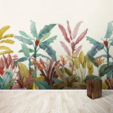 custom-mural-wallpaper-papier-peint-papel-de-parede-wall-decor-ideas-for-bedroom-living-room-dining-room-wallcovering-Redout-Dusty-Pink-and-Teal-Vintage-Tropical-Minimalist
