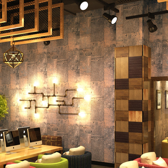 nostalgic-vintage-wallpaper-industrial-metal-iron-wallcovering-restaurant-bar