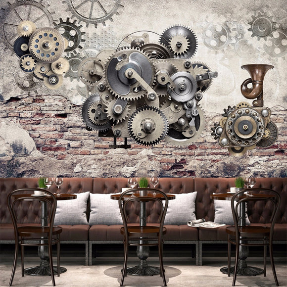 custom-wall-mural-wallcovering-nostalgic-vintage-wallpaper-mechanical-gears