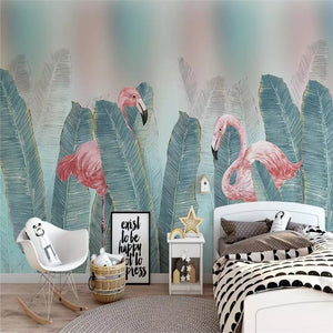 tropical-flamingo-fresh-green-leaves-background-papier-peint-production-mural-nursery-wallpaper-mural-poster-photo-wall