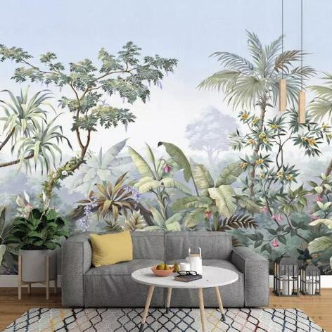 wallpaper-european-retro-hand-drawn-garden-trees-rainforest-banana-coconut-tree-wallpaper-tv-background-3d-wallpaper