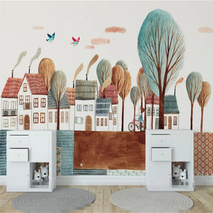 custom-large-mural-wallpaper-nordic-simple-happy-childhood-town-children-house-background-wall-wall-covering-papier-peint