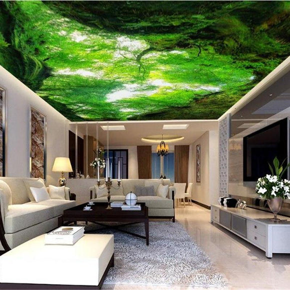 3d-visual-personality-wallpaper-looking-up-fresh-air-woods-zenith-decorative-painting-backdrop-wallpaper-for-walls-3-d