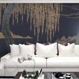 3d-wall-mural-customized-chinese-line-drawing-landscape-yangliu-chanmou-mural-background-wallpaper-3d-on-the-wall