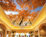 custom-high-level-decorative-painting-wallpaper-yellow-leaves-woods-high-sky-sky-zenith-murals-papel-de-parede-tapety