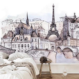 european-hand-painted-foreign-tourism-fashion-stickers-tower-watercolor-mural-papier-peint-decoration-wallpaper