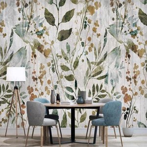 custom-3d-mural-wallpaper-papier-peint-yellow-green-leaves-plants-interior-bedroom-dining-room-living-room-photo-wall-decoration-wood-effect