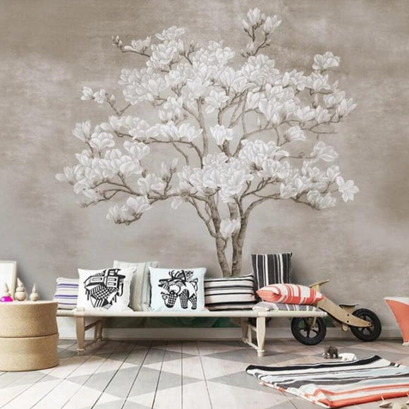 wall-papers-home-decor-Customized-personality-decoration-papel-de-parede-3d-hand-painted-magnolia-flower-papier-peint