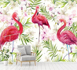 wallpaper-for-kids-room-modern-wallpaper-hand-drawn-flamingo-tropical-rainforest-photo-wallpaper-nordic-background-wall