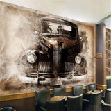 wallpaper-wall-murals-wall-stickers-ink-european-style-nostalgic-retro-tattered-car-classic-car-backdrop-wall-papier-peint