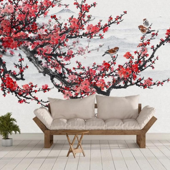 wallpaperCustomized-plum-blossom-hand-painted-Chinese-ink-landscape-flowers-and-birds-background-painting-3d-wallpaper-papier-peint-wall-covering
