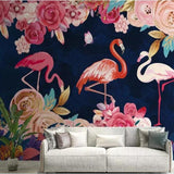 vinyl-wallpaper-custom-hand-painted-plant-flowers-wallpaper-flamingo-background-wall-decoration-mural-3d-wallpaper-walls