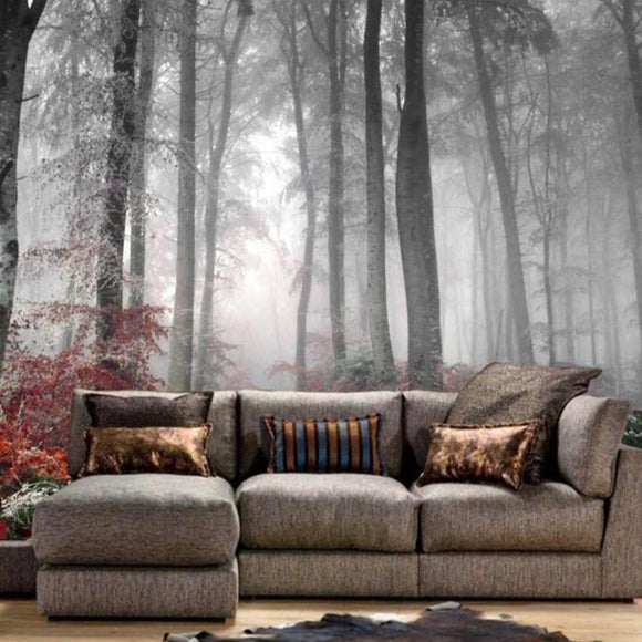 Dreamy Natural Forest Black and White Wallpaper Mural (㎡)