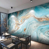 Custom Size Wallcovering Marble Effect Wallpaper Mural (㎡)