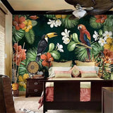 Tropical Rainforest Parrot Plants Wallpaper Mural (㎡)