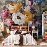 Retro Hand Painted Floral Wallpaper Mural (㎡)