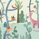 custom-wallpaper-mural-wall-covering-wall-decor-wall-decal-wall-sticker-nursery-decor-kids-room-children's-room-daycare-kindergarten-ideas-cartoon-woods-animals-dinosaur-papier-peint