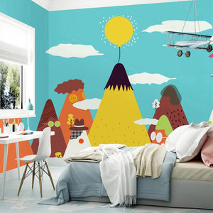 custom-wallpaper-mural-wall-covering-wall-decor-wall-decal-wall-sticker-nursery-decor-kids-room-children's-room-daycare-kindergarten-ideas-cartoon-mountains-papier-peint