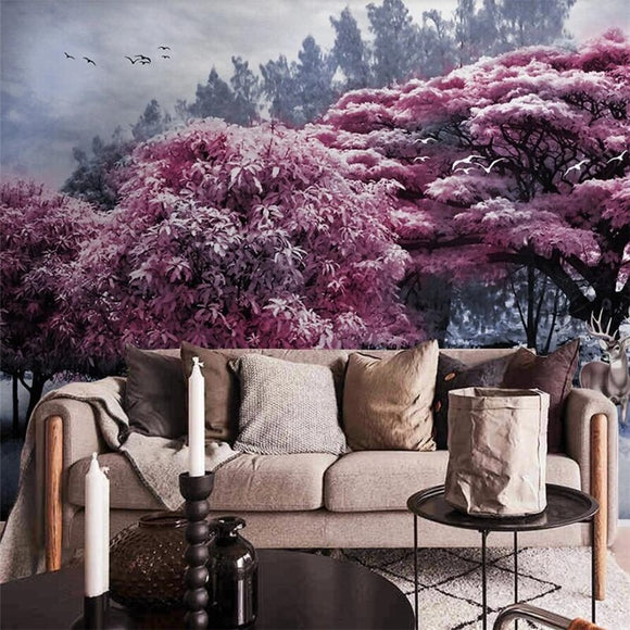 papel-de-parede-customized-large-murals-stylish-home-decoration-beautiful-pink-forest-big-tree-elk-landscape-wall-wallpaper