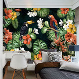 custom-mural-wallpaper-painting-pastoral-parrot-tropical-rainforest-plant-cartoon-living-room-tv-backdrop-wall-papers-home-decor