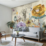 custom-vintage-flowers-and-elk-deer-design-wall-mural-on-the-wall-for-meeting-room-living-room-sofa-background-wall-paper-mural