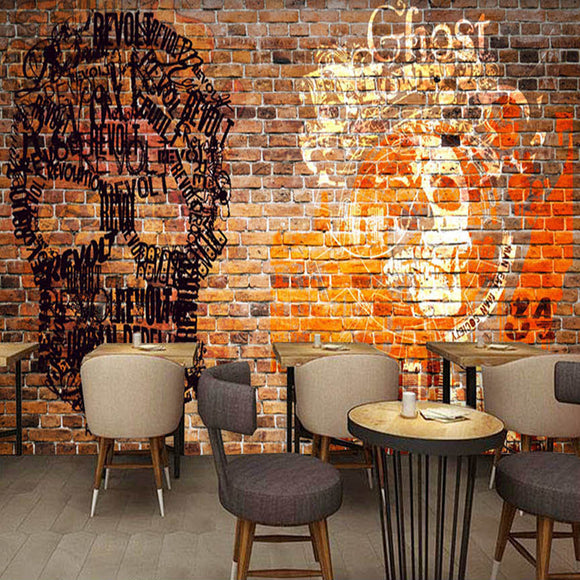 Custom-3D-Wall-Murals-Wallpaper-European-Style-brick-skull-living-room