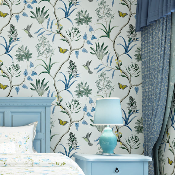 american-rural-garden-birds-flowers-mural-wallpaper-for-walls-3-d-papel-de-parede-3d-flooring-wall-papers-home-decor