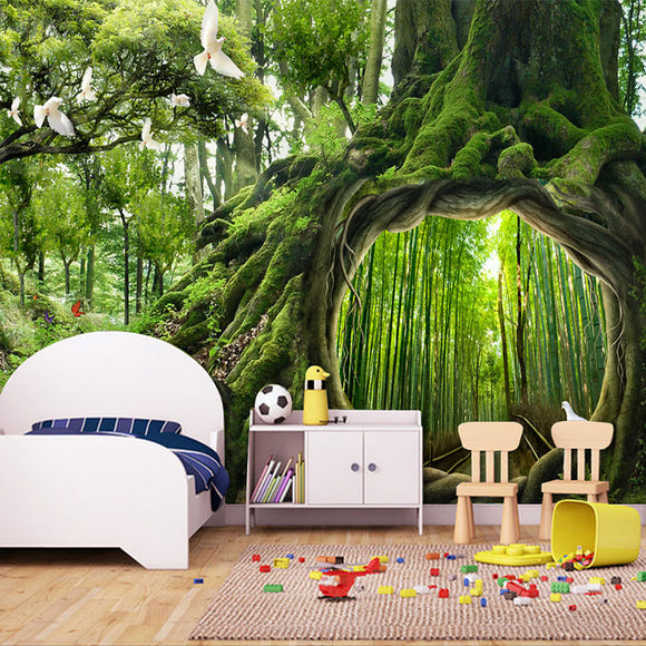 custom-photo-wallpaper-green-virgin-forest-tree-hole-stereoscopic-mural-wall-painting-living-room-bedroom-background-murales-3d-wallcovering
