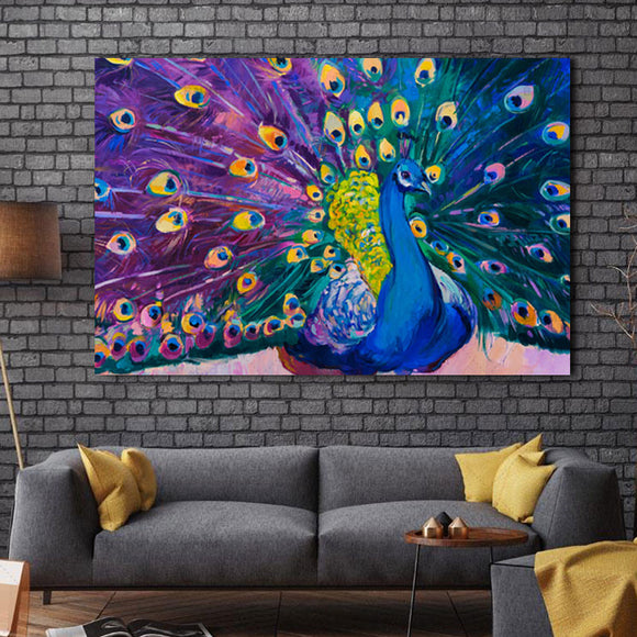 canvas-print-wall-painting-prints-home-decor-modern-animal-wall-art-painting-peacock-unframed-modern-vintage-blue-peacock