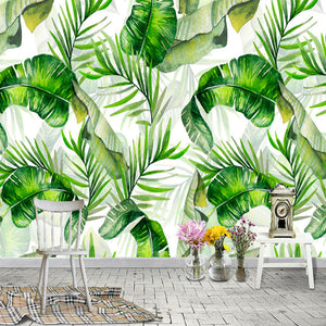 custom-photo-wallpaper-hand-painted-banana-leaves-rain-forest-plants-green-leaf-decor-wall-painting-wallpapers-for-living-room