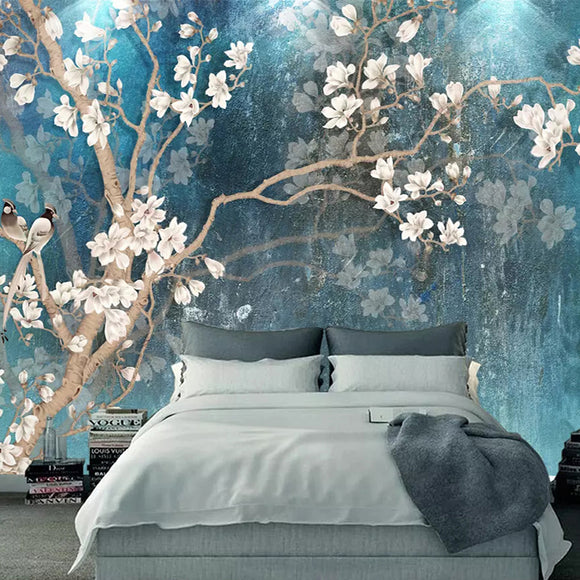 custom-3d-wall-murals-wallpaper-nordic-blue-vintage-hand-painted-flowers-birds-oil-painting-wall-paper-bedroom-mural-de-parede-papier-peint