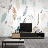 nordic-plant-leaf-feather-modern-minimalist-wood-grain-tv-background-wall-professional-custom-high-end-mural
