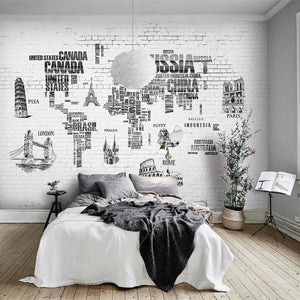 Custom Wallpaper Mural Black and White World Map (㎡)