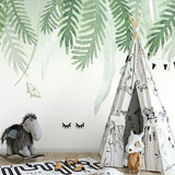 nordic-style-hand-painted-palm-leaves-wallpaper-mural-custom-size-kid's-room