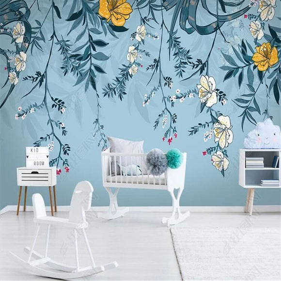 nordic-minimalist-small-fresh-leaves-floral-watercolor-style-wall-wallpaper-mural-custom-photo-wall