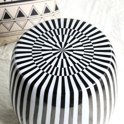 Superb Ceramic Drum Stool Modern Black And White Sofa Table Creativecarmelina Interior Chair Design Creativecarmelinacom