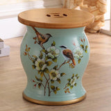 Ceramic Drum Stool Sofa Table with Bamboo Top Flower Bird Peacock